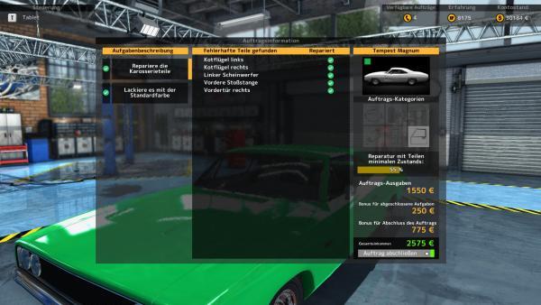 Screenshot: Ein Menü mit bereits erfüllten Aufgaben vor einem Werkstatt-Hintergrund.