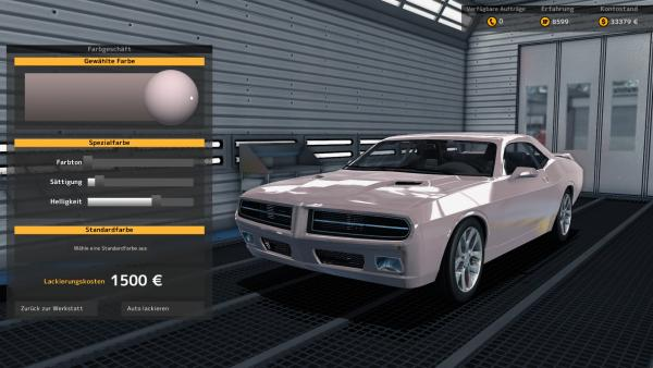 Screenshot: Ein amerikanisches Muscle-Car in der Lackiererei.
