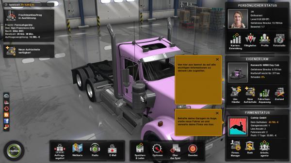 Screenshot: Menü mit Informationen über Charakter, Lkw, Firma, aktuellen Auftrag etc.