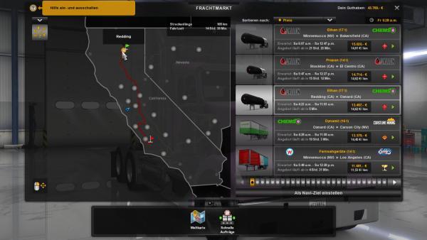 Screenshot: Landkarte mit Auftragsüberblick.