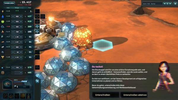 Screenshot: Nahansicht einer Marskolonie. Im Vordergrund sieht man die aktuellen Marktpreise.