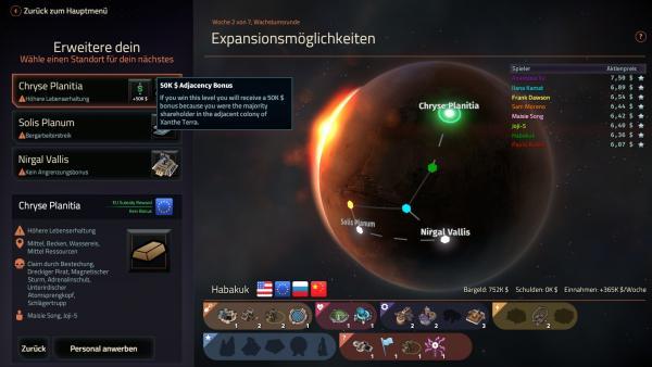 Screenshot: Das Hauptmenü der Kampagne. Im Hintergrund befindet sich der Mars.