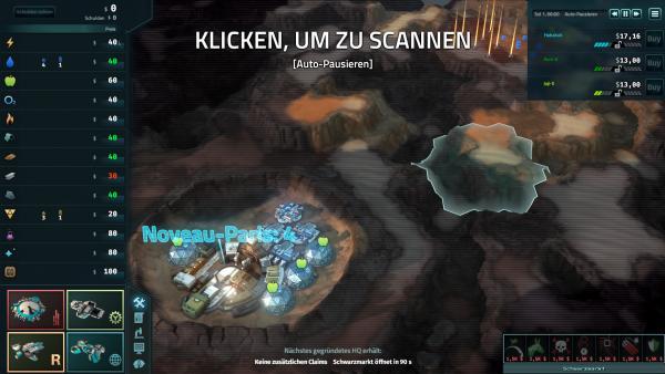 Screenshot: Ansicht der Marsoberfläche zu Beginn einer Mission.