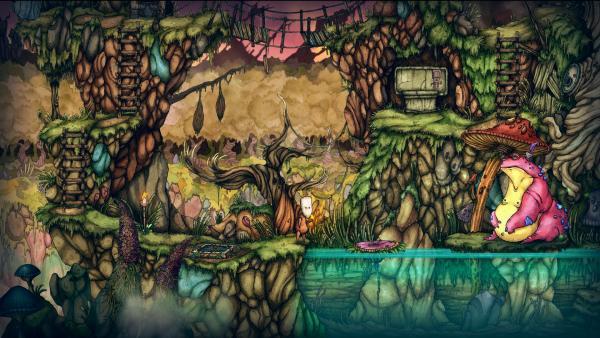 Screenshot: Teku steht vor einem See. Im See ist eine Insel, auf der eine riesige Kröte sitzt.