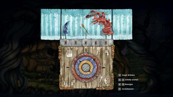 Screenshot: In einem Minispiel müssen Räder betätigt werden, um Figuren miteinander interagieren zu lassen.