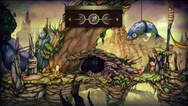 Screenshot: Teku steht vor einem Seil. Im Auswahlmenü wird ein scharfkantiger Stein angezeigt. Mit dem Seil wird ein großer Fisch festgehalten. Darunter stehen zwei gegnerische Spielfiguren.