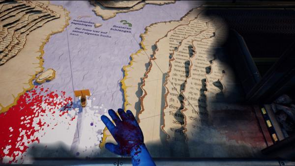 Screenshot: Ein Schiff wird über ein Meer in einer Papierwelt gesteuert.
