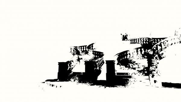 Treppe in schwarz-weiß