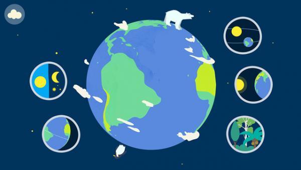 Screenshot: Darstellung unserer Erde im Comicstil mit weiteren Informationen zum Sonnensystem, Klima etc.