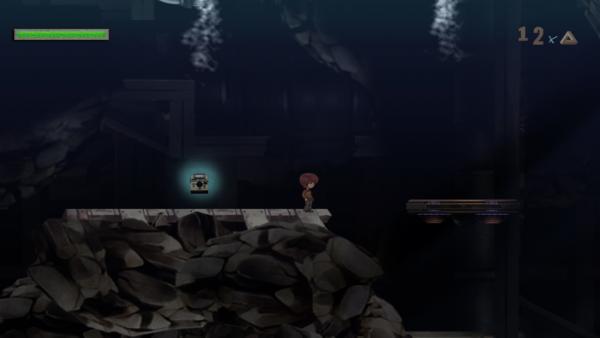 Der Hauptcharakter in einer düsteren Höhle neben einem Speicherpunkt - einer Kamera.