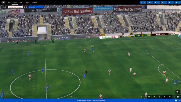 Screenshot: Ein Fußballspiel in der 3D-Ansicht.