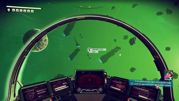 Screenshot: Ausblick aus dem Cockpit des eigenen Raumschiffs auf den Weltraum.