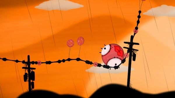 Screenshot: Ein großer Ball mit Lippen soll über der Erde befördert werden.