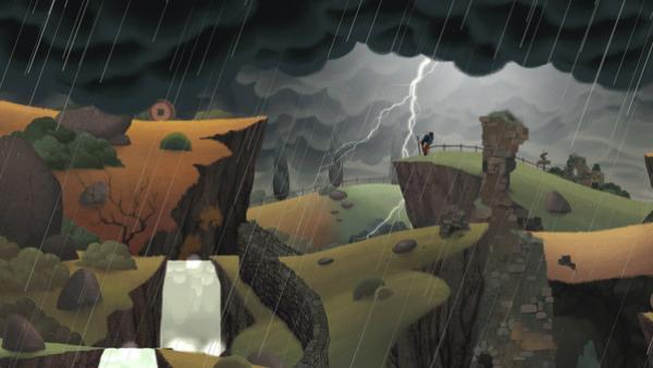Screenshot: Der alte Mann steht bei Gewitter auf einer Klippe, rundherum sind Hügel.