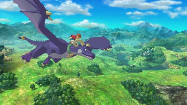 Hauptfigur fliegt auf einem Drachen durch die Lüfte
