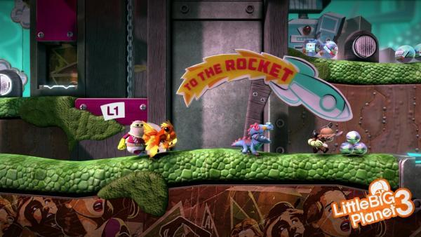 Spielfiguren machen sich auf den Weg zu einer Rakete