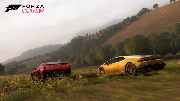Zwei Sportwagen fahren ein Rennen