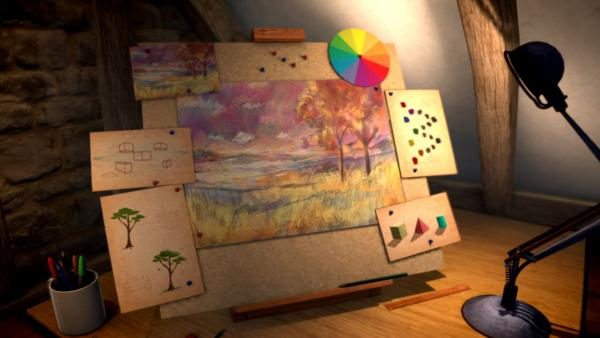 Eine beleuchtete Tafel, auf der verschiedene Farbtöne, Schatten und Formen abgebildet sind.