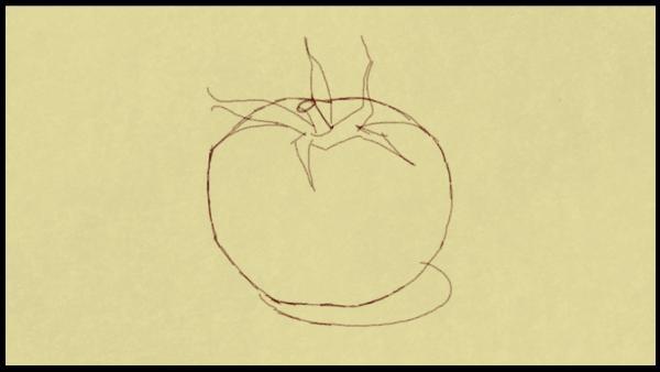 Der Anfang eines Bildes: Konturen eines Apfels.