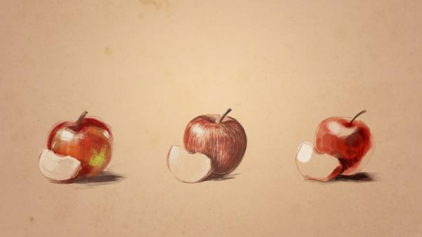 Drei Äpfel mit verschiedener Technik gezeichnet.