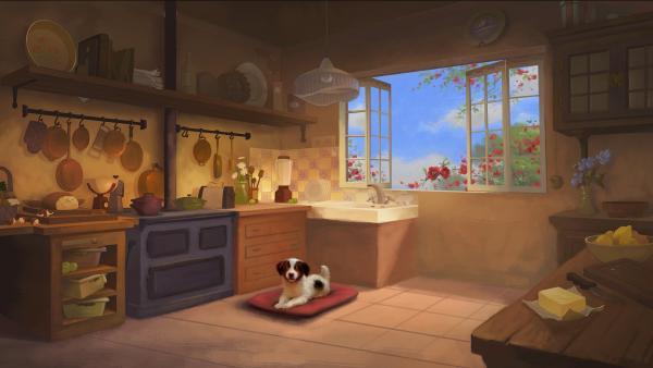 Ein Bild zum nachmalen: Kleiner Hund in Küche.