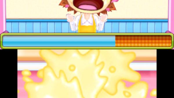 Screenshot: Cooking Mama ist Teig ins Gesicht gespritzt