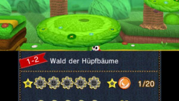 Screenshot: Yoshi springt auf einer Plattform um Münzen einzusammeln.