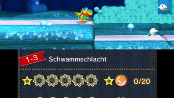 Screenshot: Yoshi schießt sich mit Hilfe eines Wollknäul den Weg frei.