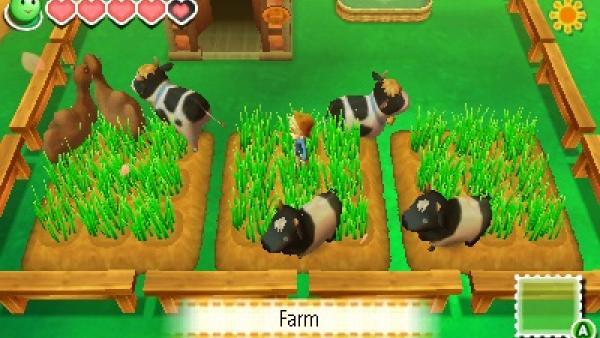 Screenshot: Der Farmer steht auf der Koppel mit seinen 2 Kamelen und 4 Kühen.