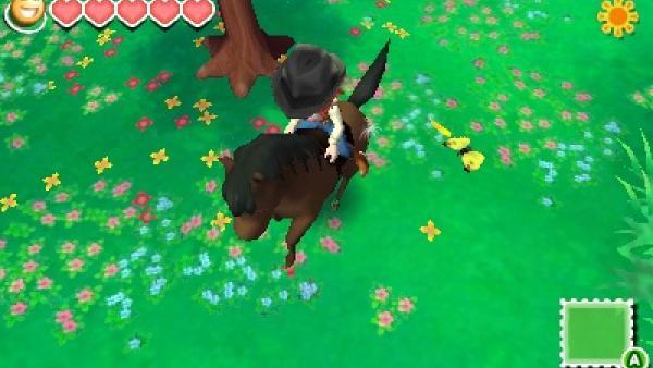 Screenshot: Der Farmer reitet sein Pferd.
