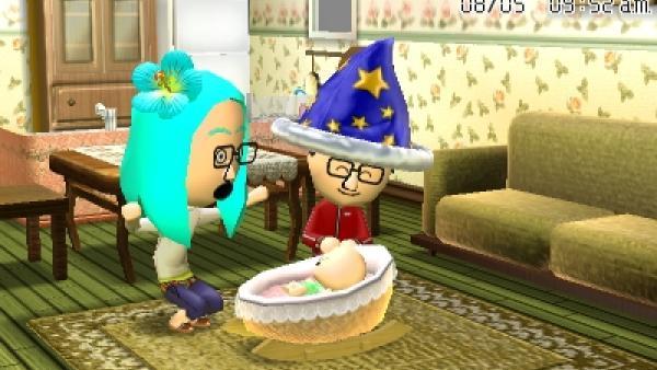 """Screenshot von """"Tomodachi Life"""" mit 2 Eltern beim Spielen mit dem Baby"""