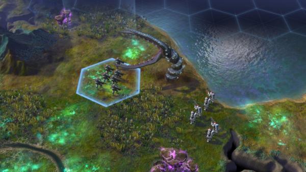 Einige Soldaten kämpfen gegen einen riesigen außerirdischen Wurm.