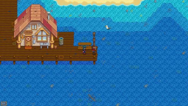Screenshot: Zwei Männer auf einem Steg vor einer Fischerhütte.