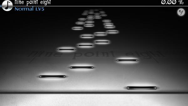 Screenshot: Schwarze, weiß-glühende Striche fliegen auf eine schwarze Linie zu.