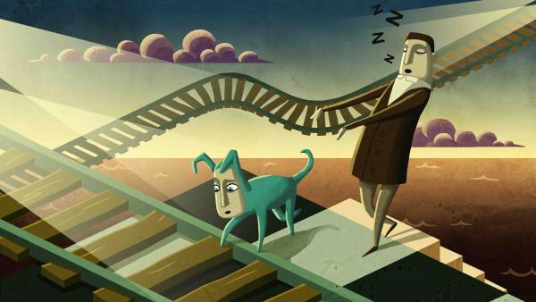 Screenshot: Die Protagonisten, Bob und Subob, schreiten durch die Traumwelt.