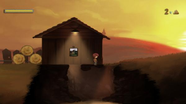 Der Hauptcharakter in einer Hütte die eine geheime Höhle verdeckt.
