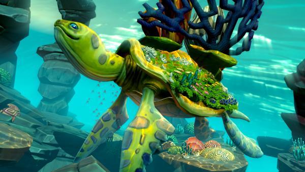 Eine riesige Schildkröte im Meer.