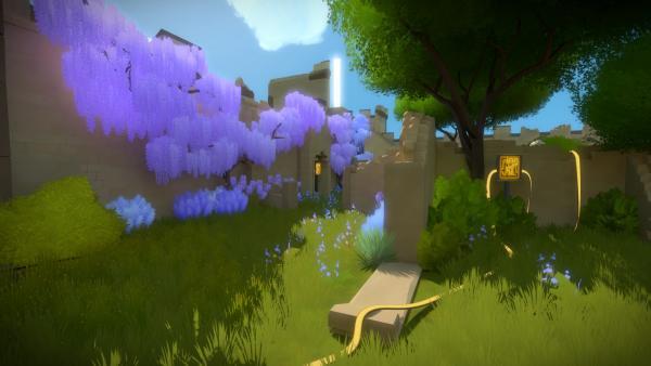 Screenshot: Ein blühender Garten mit einigen, über Leitungen verbundenen, Schalttafeln darin.