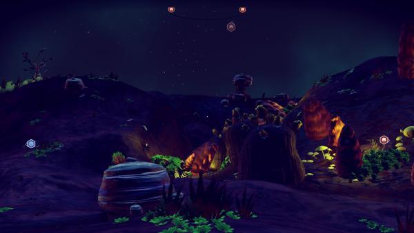 Screenshot: Eine bewachsene Planetenoberfläche bei Nacht.