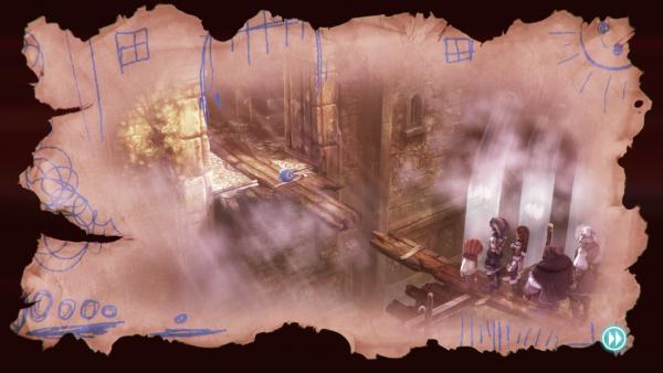 Screenshot: Die Helden der Geschichte stehen am rechten Ufer einer Schlucht. Spot wartet auf dem anderen Ufer.