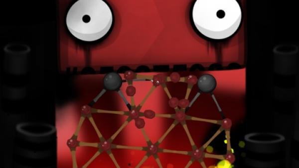 Screenshot: Brennende Goo-Bälle in einer Schlucht, im Hintergrund ein Wesen mit großen Augen.