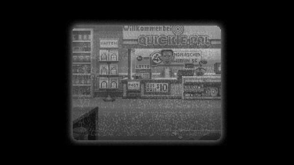 Screenshot: Blick durch eine Überwachungskamera auf einen Verkaufsraum.
