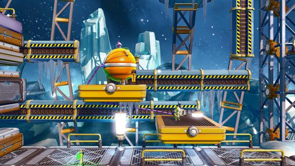 Screenshots: Die Astronauten müssen versuchen, die Plattformen hinaufzuspringen.