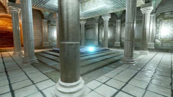 Screenshot: Raum mit Säulen und Leuchten in der Mitte