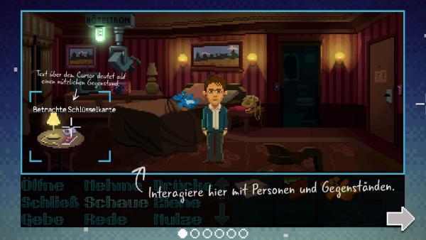 Screenshot: Ein Agent steht in einem Zimmer. Davor sind Tipps zur Steuerung eingeblendet.