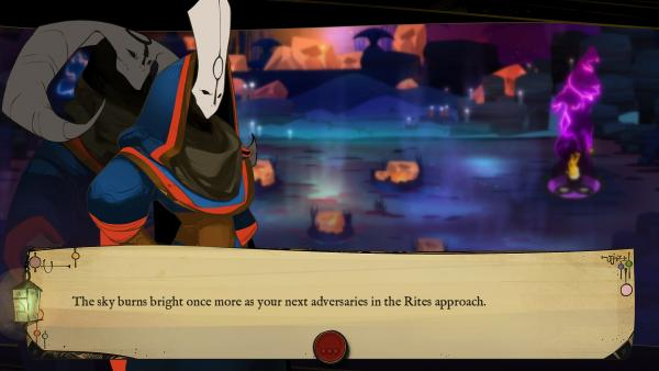 Screenshot: Eine maskierte Spielfigur in Großaufnahme, darunter ein Textfeld.