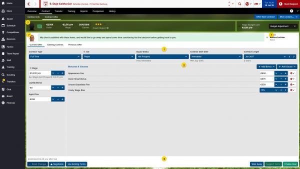 """Screenshot: Das Interface der vereinfachten Variante """"Football Manager Touch""""."""