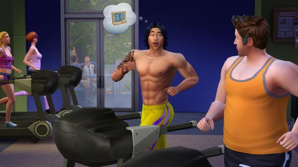 Sims trainieren am Laufband im Fitnesstudio und unterhalten sich dabei.