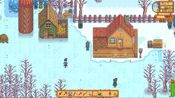 Screenshot: Die Farm in einer verschneiten Winterlandschaft.