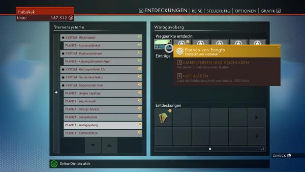 Screenshot: Das Menü in dem neue Entdeckungen hochgeladen werden können.